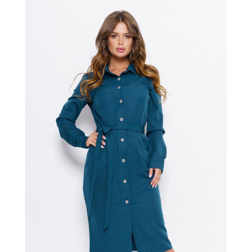 Бирюзовое платье на пуговицах Мэри фото 1