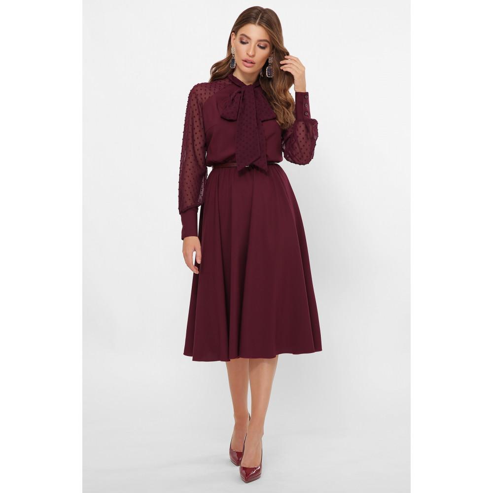 Изумительное бордовое платье-клеш Аля фото 1