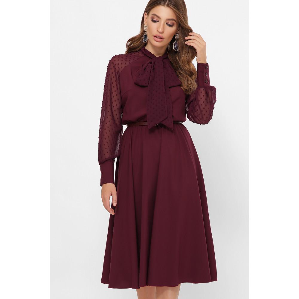 Изумительное бордовое платье-клеш Аля фото 2