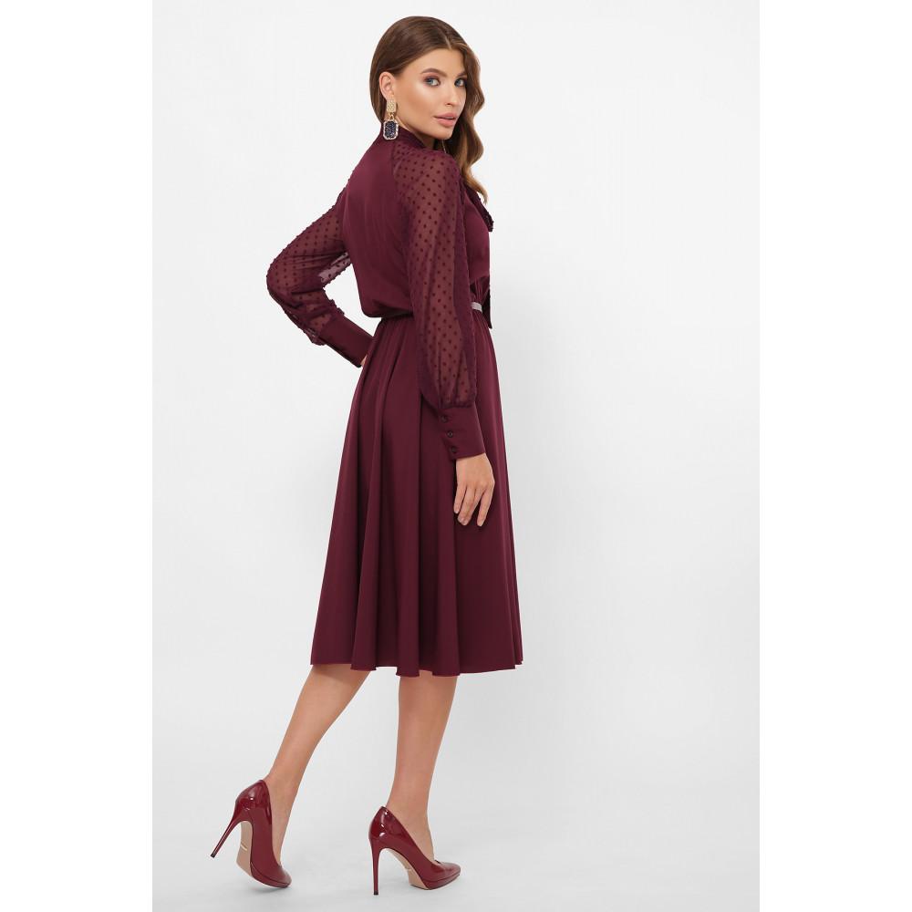 Изумительное бордовое платье-клеш Аля фото 4