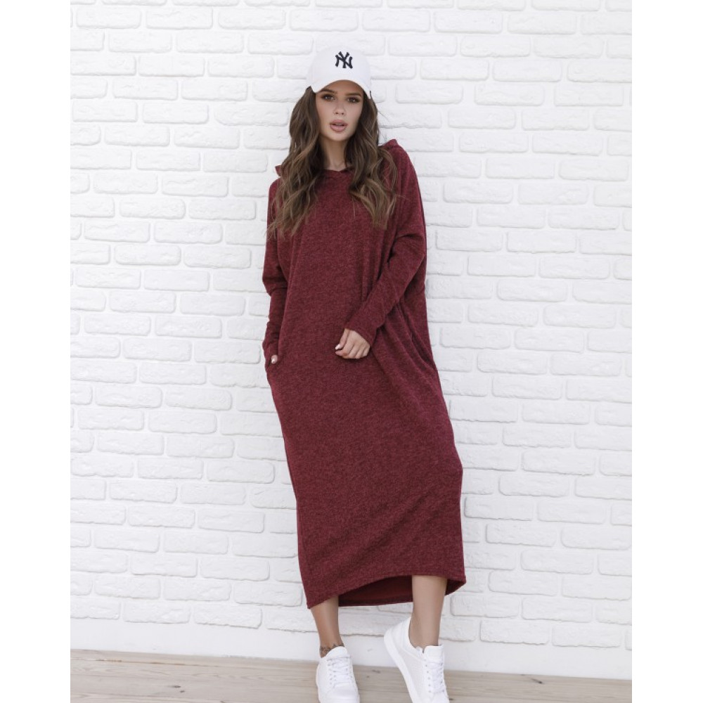 Бордовое теплое платье Мелия фото 1