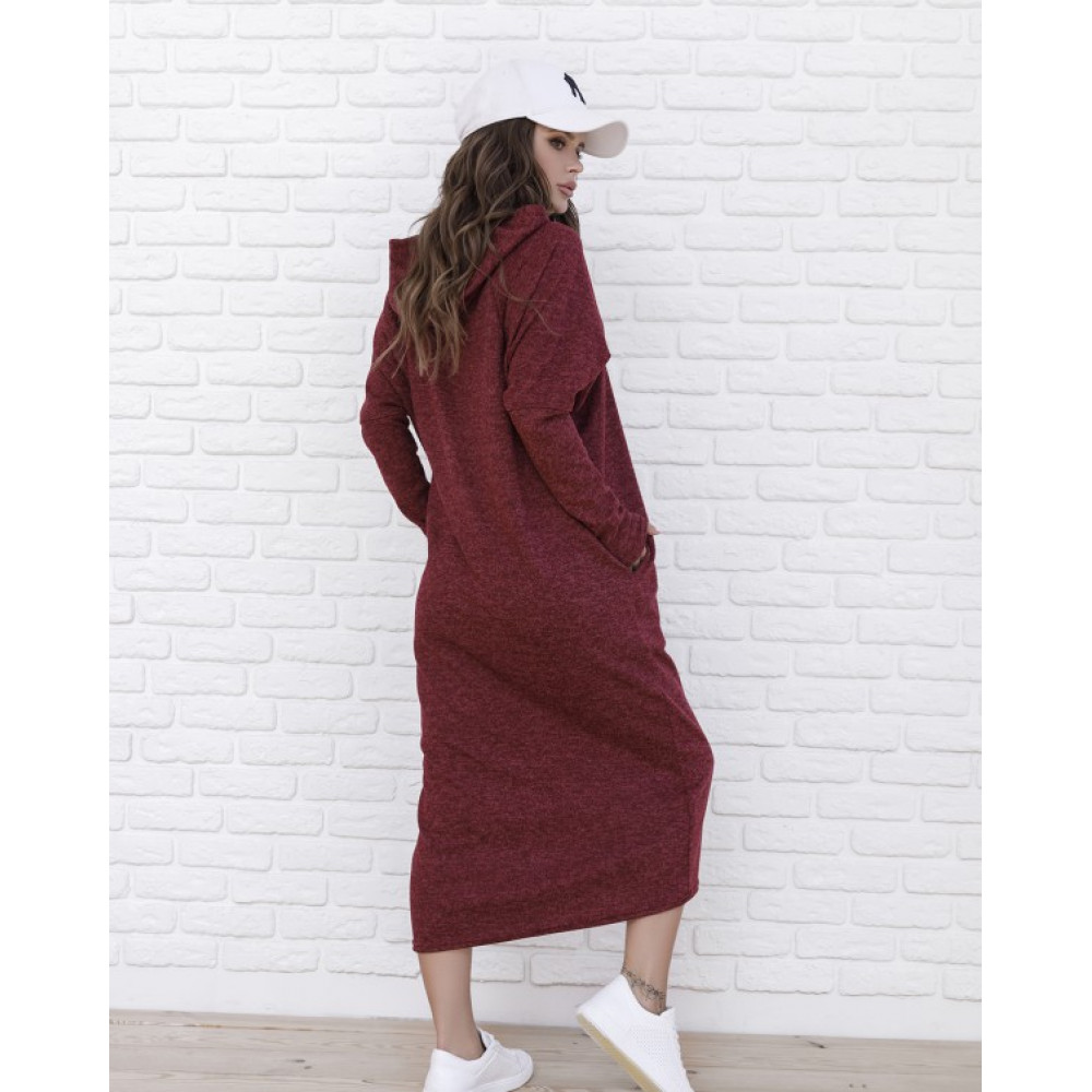 Бордовое теплое платье Мелия фото 2