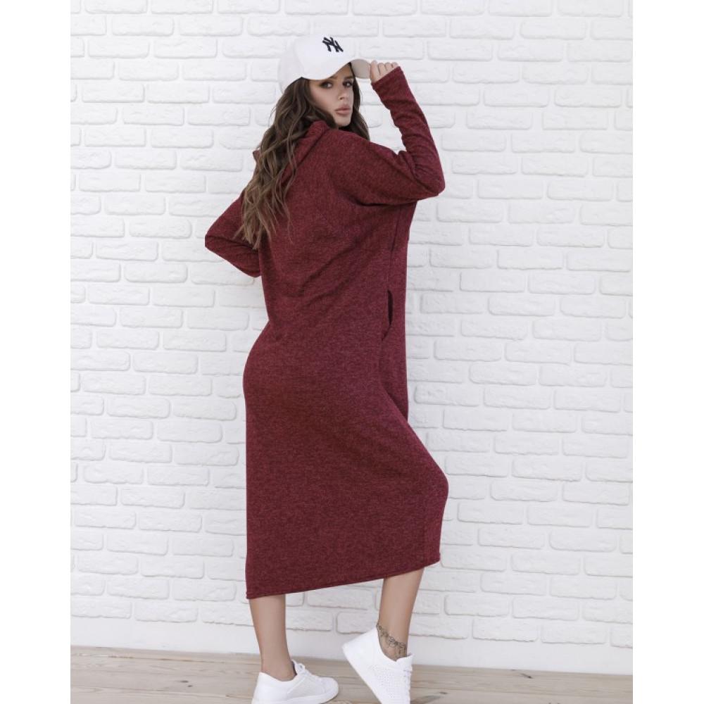 Бордовое теплое платье Мелия фото 3