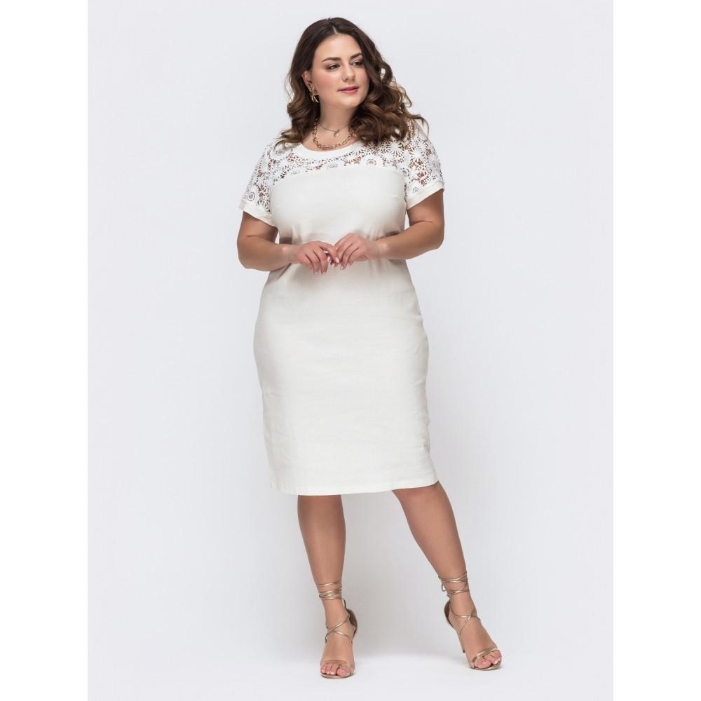 """Белое платье с кокеткой """"макраме"""" фото 1"""