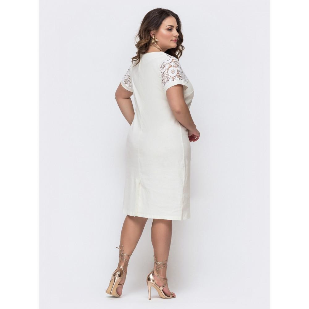 """Белое платье с кокеткой """"макраме"""" фото 2"""