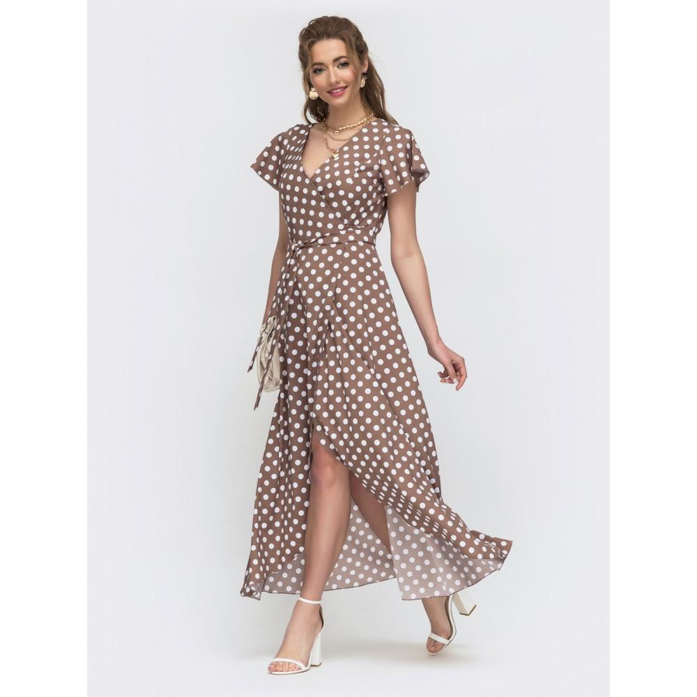 Длинное платье на запах в актуальный гороховый принт фото 1