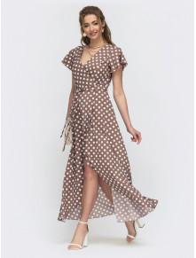 Довга сукня на запах в актуальний гороховий принт