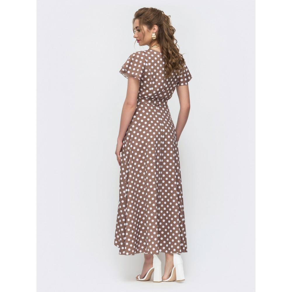 Длинное платье на запах в актуальный гороховый принт фото 3