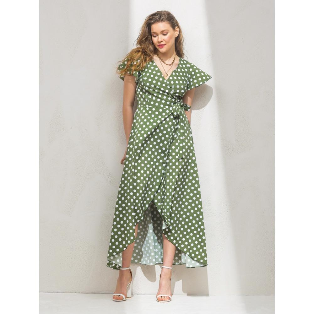 Зелена сукня-максі в актуальний гороховий принт фото 1