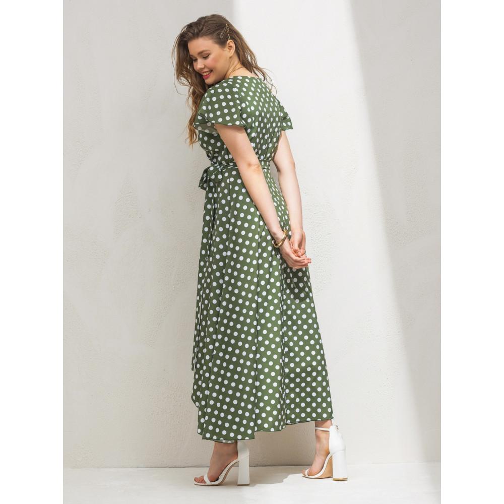 Зелена сукня-максі в актуальний гороховий принт фото 2