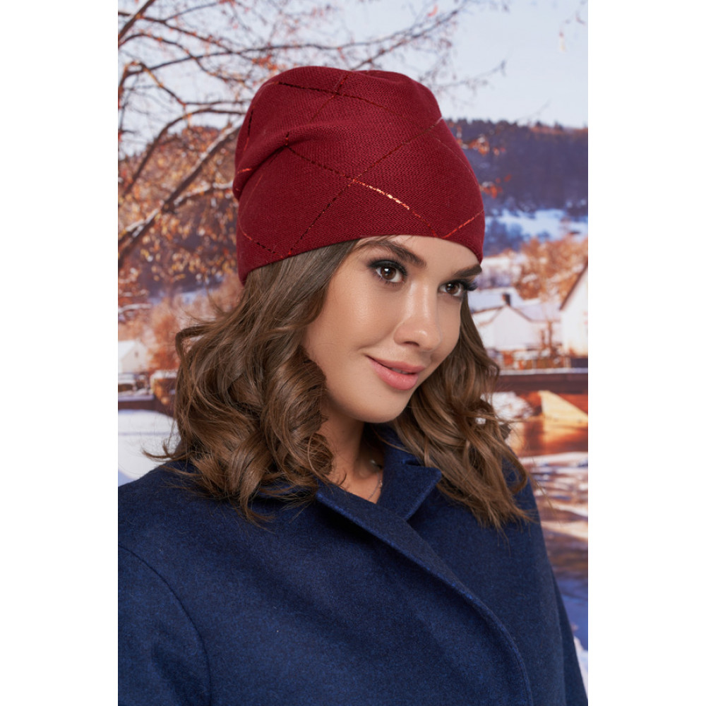 Бордовая шапка-бини Улана фото 1